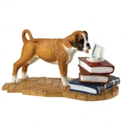 Time For Tea Boxer Dog Pup Figurine