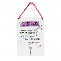 Tin Plaque Good Friends Are Like Angels