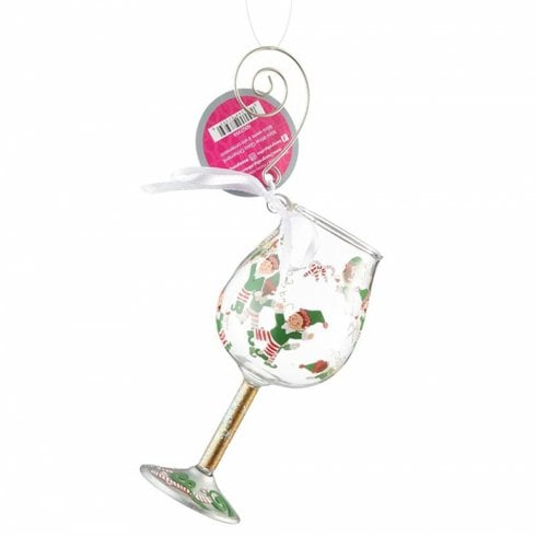 Lolita Tipsy Elf Glass Christmas Hanging Ornament