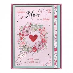 To A Wonderful Mum On Your Birthday Boxed Large Flowers Red Heart Card
