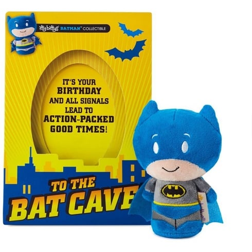 Hallmark Itty Bittys To The Bat Cave Batman Birthday Card With Soft Toy