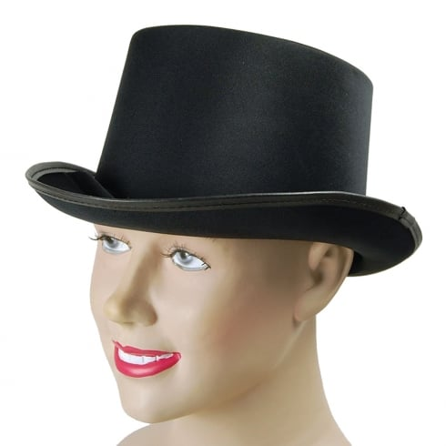 Bristol Novelty Top Hat Black Satin Look