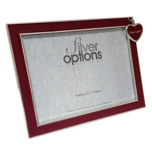 Silver Options True Love With Heart Charm 7 x 5 Photo Frame