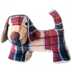 Tweed Dog Door Stopper Red