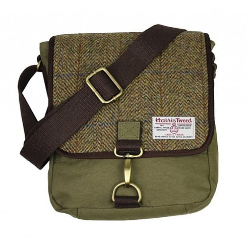 International Insignia Limited Tweed Messenger Bag Khaki Green Small