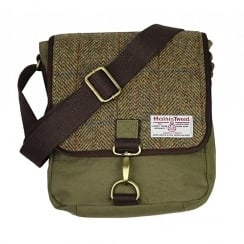 Tweed Messenger Bag Khaki Green Small