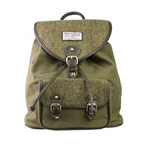 International Insignia Limited Tweed Rucksack Khaki Green