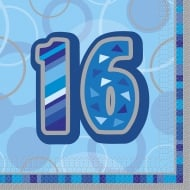 Unique 16th Birthday Blue 16 Pack of Napkins