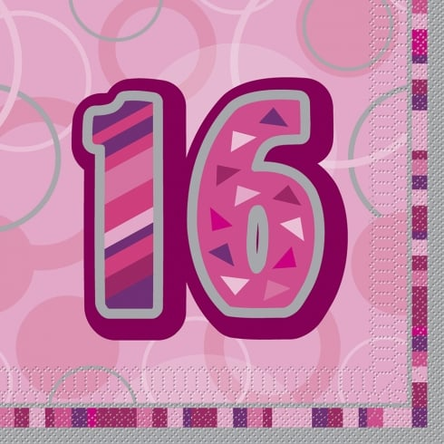 Unique Party UK Unique 16th Birthday Pink 16 Pack of Napkins