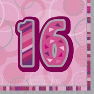 Unique 16th Birthday Pink 16 Pack of Napkins