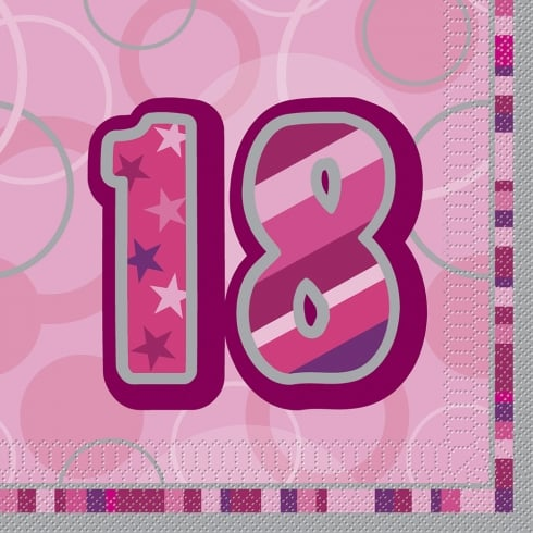 Unique Party UK Unique 18th Birthday Pink 16 Pack of Napkins