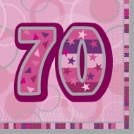Unique 70th Birthday Pink 16 Pack of Napkins