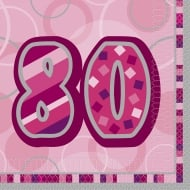 Unique 80th Birthday Pink 16 Pack of Napkins 28447