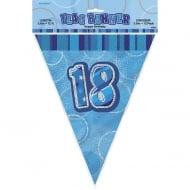 Unique Blue Glitz 18th Birthday Flag Banner 12ft