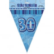 Unique Blue Glitz 30th Birthday Flag Banner 12ft