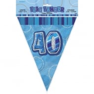 Unique Blue Glitz 40th Birthday Flag Banner 12ft