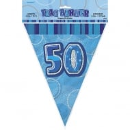 Unique Blue Glitz 50th Birthday Flag Banner 12ft