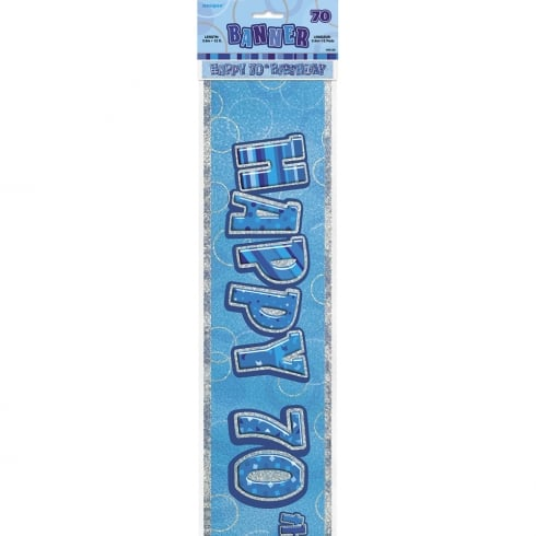Unique Party UK Unique Blue Glitz 70th Birthday Banner 12ft