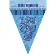 Unique Blue Glitz Happy Birthday Flag Banner 12 ft