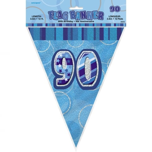 Unique Blue Glitz Happy Birthday Prismatic Banner 12ft