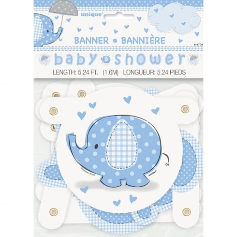Unique Party UK Unique Blue Umbrellaphant Baby Shower Jointed Banner