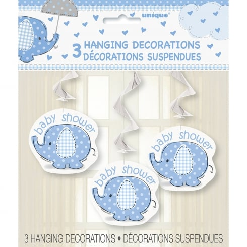 Unique Party UK Unique Blue Umbrellaphant Baby Shower pack of 3 Hanging Decorations