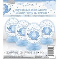 Unique Blue Umbrellaphant Baby Shower pack of 4 Honeycomb Decorations
