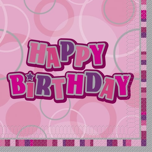 Unique Party UK Unique Happy Birthday Pink 16 Pack of Napkins