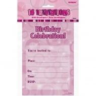 Unique Pack of 16 Pink Flat Birthday Invitations