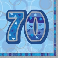 Unique Party UK 70th Birthday Blue 16 Pack of Napkins