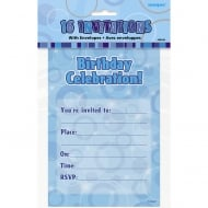 Unique Party UK Blue Birthday Invites Pack of 16