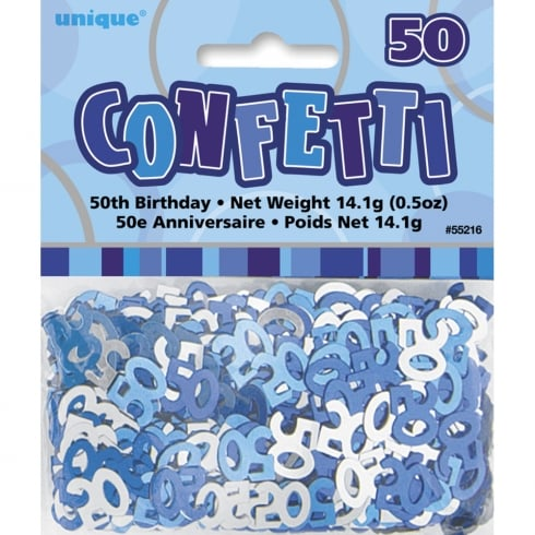 Unique Party UK Blue Glitz 50th Birthday Confetti 14.1g (0.5oz)