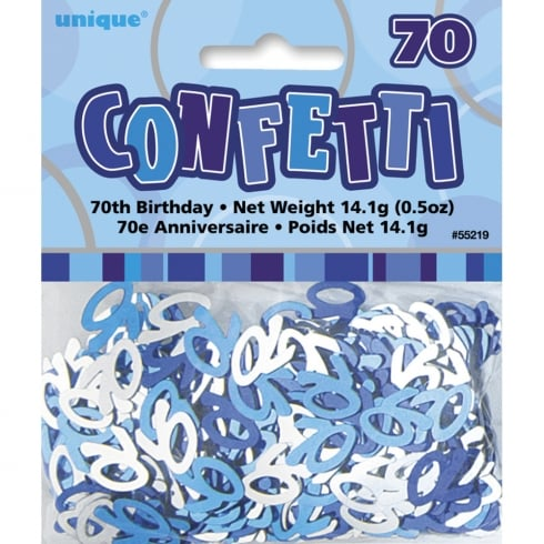 Unique Party UK Blue Glitz 70th Birthday Confetti 14.1g (0.5oz)