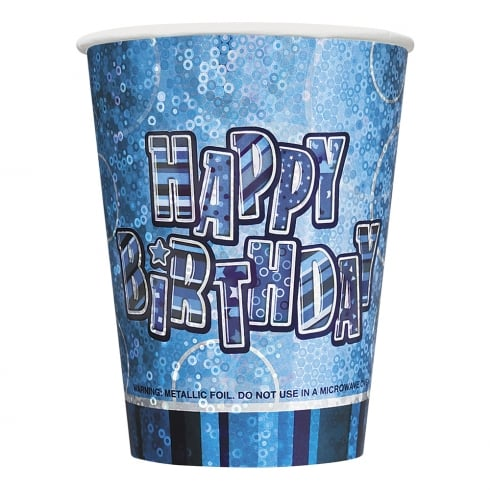 Unique Party UK Pack of 8 Blue Birthday Cups