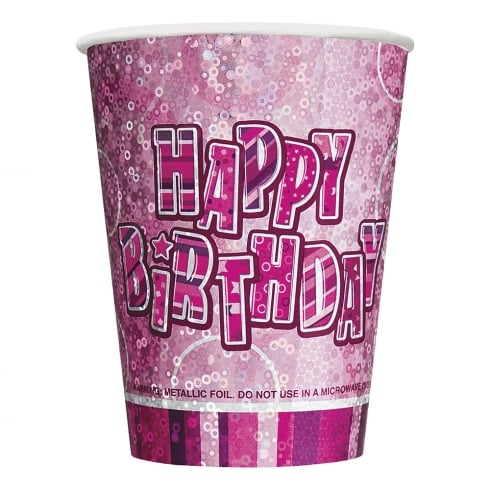 Unique Party UK Pack of 8 Pink Birthday Cups