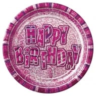 Unique Party UK Pack of 8 Pink Birthday Plates