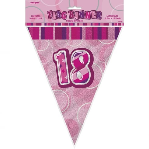 Unique Party UK Unique Pink Glitz 18th Birthday Flag Banner 12 ft