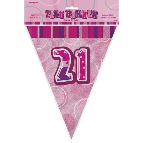 Unique Party UK Unique Pink Glitz 21st Birthday Flag Banner 12 ft