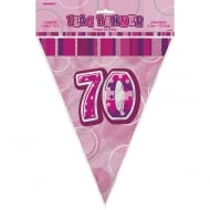 Unique Pink Glitz 70th Birthday Flag Banner 12 ft