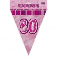 Unique Pink Glitz 80th Birthday Flag Banner