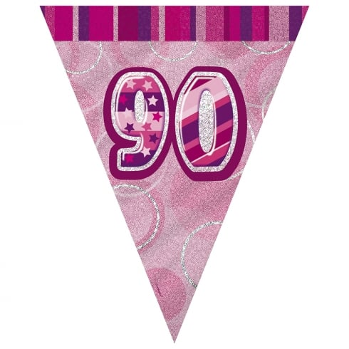 Unique Party UK Unique Pink Glitz 90th Birthday Flag Banner 12 ft