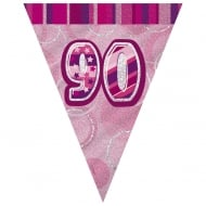 Unique Pink Glitz 90th Birthday Flag Banner 12 ft