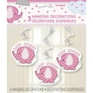 Unique Pink Umbrellaphant Baby Shower pack of 3 Hanging Decorations