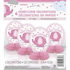 Unique Pink Umbrellaphant Baby Shower pack of 4 Honeycomb Decorations