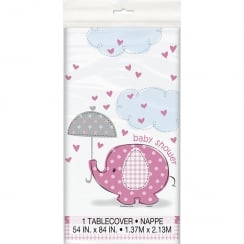 Unique Pink Umbrellaphant Baby Shower Tablecover