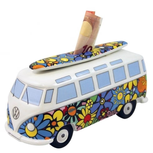VW Collection VW T1 Bus Money Bank - Flower design