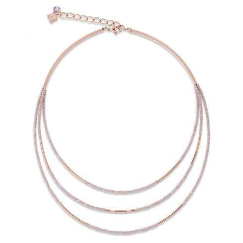 COEUR DE LION Waterfall 3 Strand Stainless Steel Rose Gold Nude Necklace