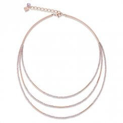 Waterfall 3 Strand Stainless Steel Rose Gold Nude Necklace