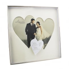 Wedding Box Twin Heart Shape Mr & Mrs Photo Frame