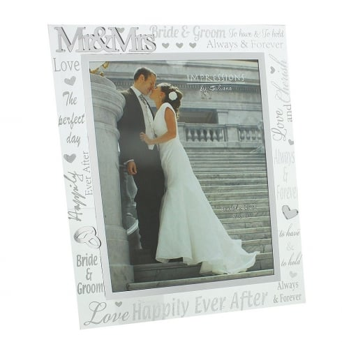 Impressions By Juliana Wedding Day Mr & Mrs 8 X 10 Glass Mirror Photo Frame